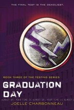 cover of Graduation Day by Joelle Charbonneau. Rich, purple background, and slight to the left is a silver medal with two crossed lightning bolts on it.