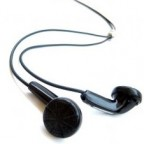 a pair of black ear buds