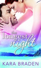 Cover for The Longest Night by Kara Braden. A white woman with brown hair leans down, nose-to-nose with a white man with brown hair and a couple days stubble. Her hand cups his jaw, thumb along his cheekline. Below them is a secluded winterscape, a lone cabin in snow-covered pines.