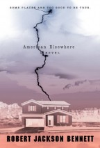 "Cover for American Elsewhere by Robert Jackson Bennett. A photo of a ""typical"" American, two-story house, with a drive way, and trees in the background, with a bolt of lightning striking from above. The whole thing is in photo negative, though, so the lightning is black and the rest is very pale, colored from top to bottom in a gradient of blue to pink."