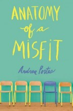 cover for Anatomy of a Misfit by Andrea Portes. A bright teal background with the title in yellow handwriting. Across the bottom are a half dozen chairs, most of them yellow but one bright blue.