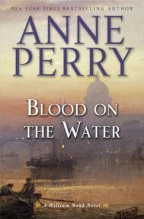 cover for Blood on the Water by Anne Perry. A hazy pink and yellow sunrise over the Thames river, boats floating in the middle ground and a foggy St. Paul's Cathedral in the background.