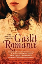 cover for The Mammoth Book of Gaslit Romance by Ekaterina Sedia. Close up on the elaborate cameo choker of a white lady in a lacy white Victorian dress.