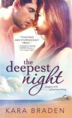 Cover for The Deepest Night by Kara Braden. The bottom half is a intensely bright beach shoreline. The top are a white blond woman and a dark-haired white man from the bust up, leaning close in an intense look as though they are about to or just have shared a scorching kiss.