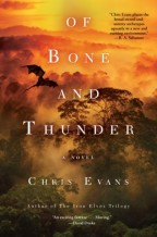 Cover for Of Bone and Thunder by Chris Evans. An aerial view of fog-filled treetops in a orange sunset light, with a dragon flying over the top of all.