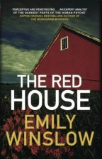 cover for The Red House by Emily Winslow. A bright red house looms over a field.
