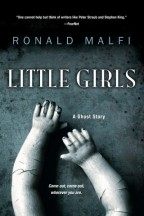 cover for Little Girls by Ronald Malfi. A dark grey stone background with cracked porcelain doll hands reaching upward.