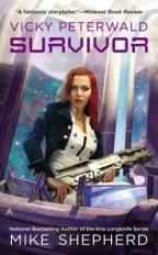 Cover for Mike Shepherd's Vicky Peterwald: Survivor. A white woman with long red hair wears a white outfit with navy military jacket and holds a big, futuristic gun aboard a spaceship.