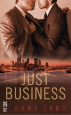 Cover for Just Business by Anna Zabo. Two men in suits lean in for a kiss above a glowing red sunset cityscape.