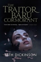 Cover for The Traitor Baru Cormorant by Seth Dickinson. A realistic porcelain mask of a feminine mask hits the ground, starting to shatter.