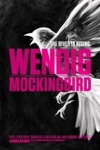 Cover for Mockingbird by Chuck Wendig. A flying painted figure of a singing bird, in white on a black background
