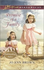 Cover for Promise of a Family by Jo Ann Brown. Matchmaking babies. Harlequin Love Inspired Historical romance.