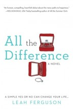 Cover for All the Difference by Leah Ferguson. Two engagement rings with boxes, one sitting upright in its box, the other sideways and fallen out.