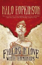 Cover for Falling in Love with Hominids by Nalo Hopkinson. A sketch of a black woman with an afro.