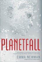 Cover for Planetfall by Emma Newman. The profile of a person's face made up completely of floating junk pieces from a 3D printer.
